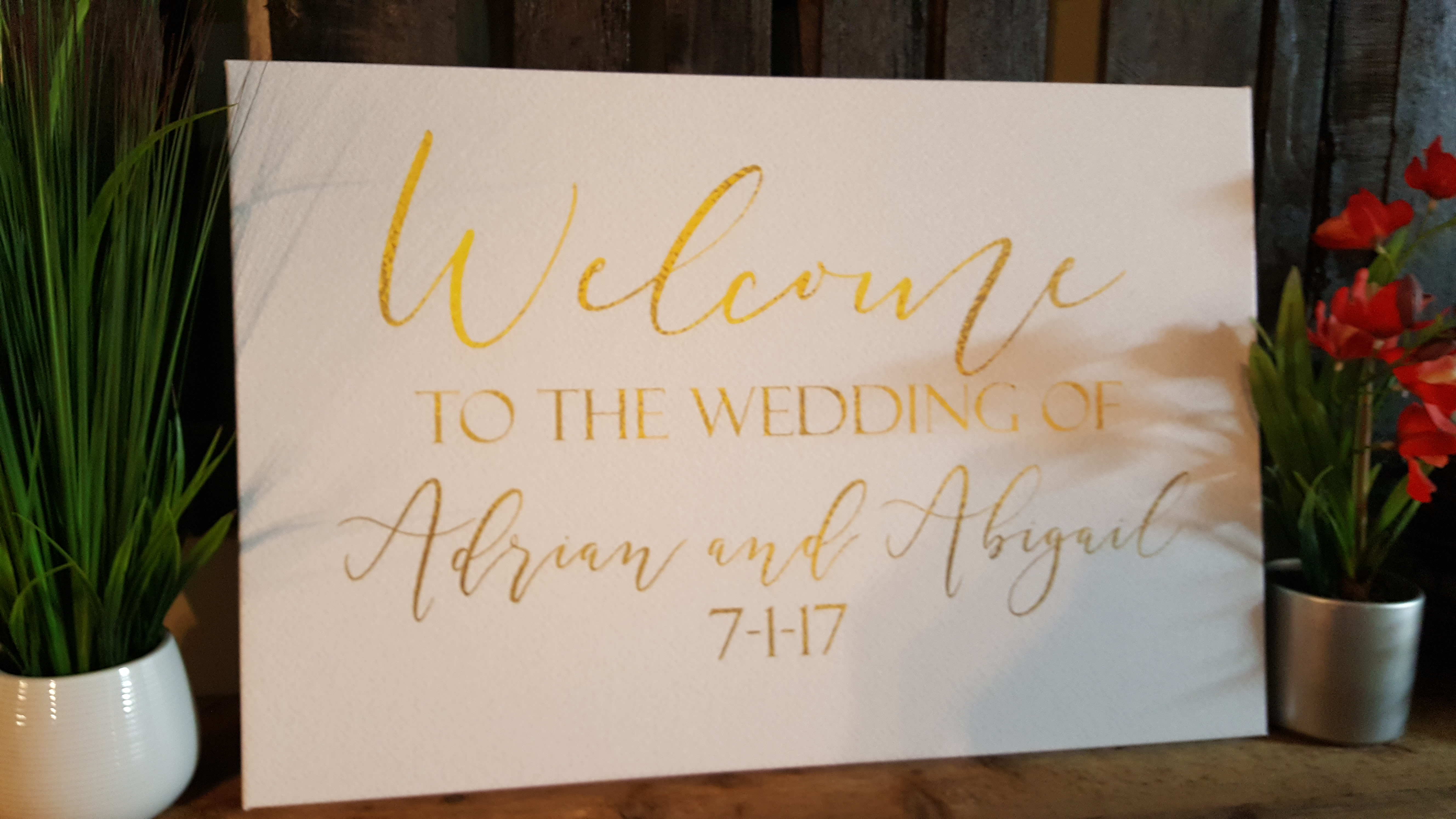 20 x 30 custom welcome sign canvas