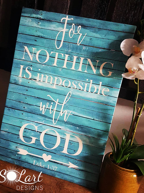 LUKE 1:37 SIZE 14 x 20 Scripture art canvas in teal color