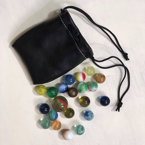 Handmade Leather Drawstring Pouch of Vintage Marbles