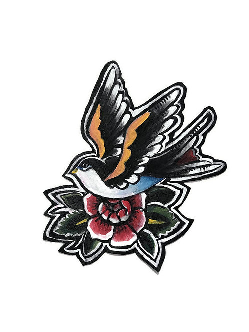 Bird and Flower Leather Patch