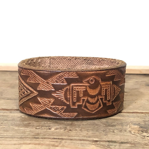Upcycled Brown Leather Cuff Bracelet w/ Aztec Design