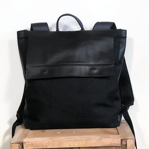 Lightweight Handmade Black Canvas and Leather Backpack