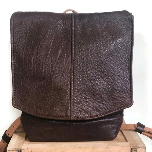 Very Soft Upcycled Brown Leather Jacket Backpack / Unisex Everyday Bag