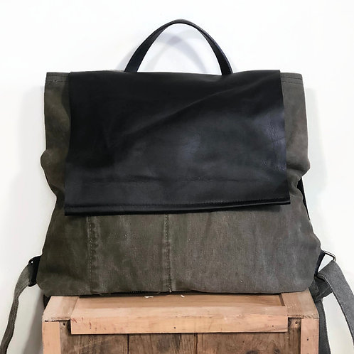 Upcycled Vintage Army Canvas and Leather Unisex Backpack