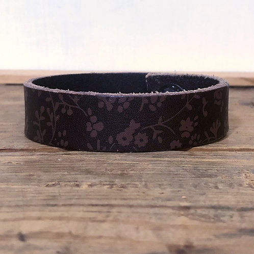 Upcycled Brown Leather Cuff Bracelet w/ Delicate Flower Design