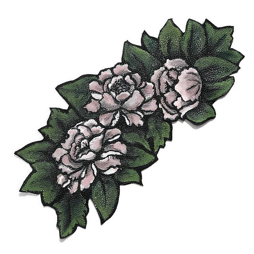 Faded Flowers Leather Patch