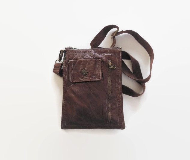 Upcycled Vintage Leather Coat Cross Body