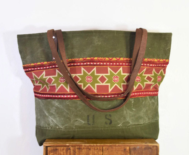 Extra Large Army Canvas and Fabric Tote
