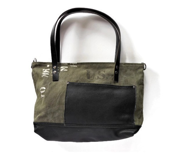Upcycled Army Canvas and Black Leather Shoulder Bag.jpg