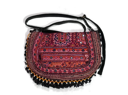 Indian Tapestry and Upcycled Black Leather Flap Top Hobo Bag