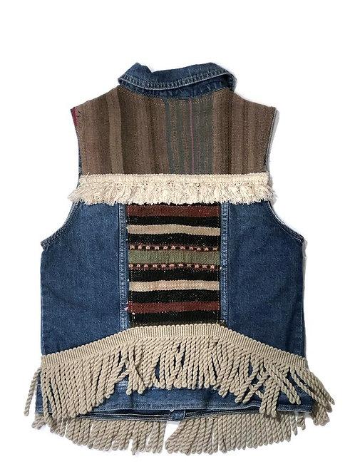 Embellished Demin Vest with Ecru Fringe