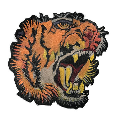 Hand Painted Roaring Tiger Leather Patch.