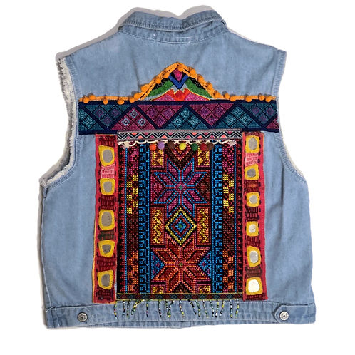 Embellished Demin Vest with Colorful Needlework
