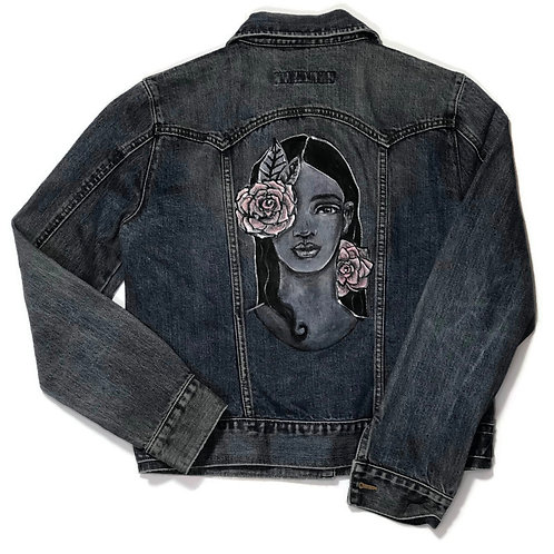 Hand Painted Girl with Flowers Denim Jacket, Wm's M
