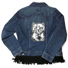 Hand-Painted Westie Dog Denim Jacket