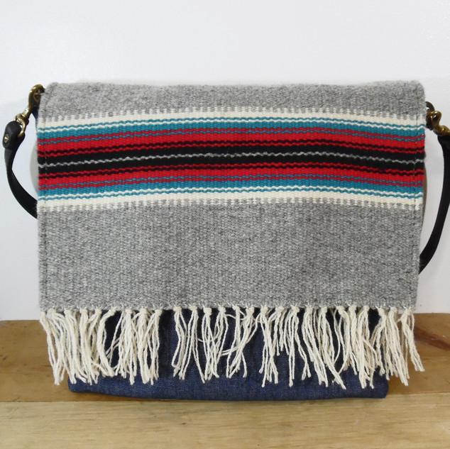 Vintage Chimayo Weave and Denim Flap Top Bag