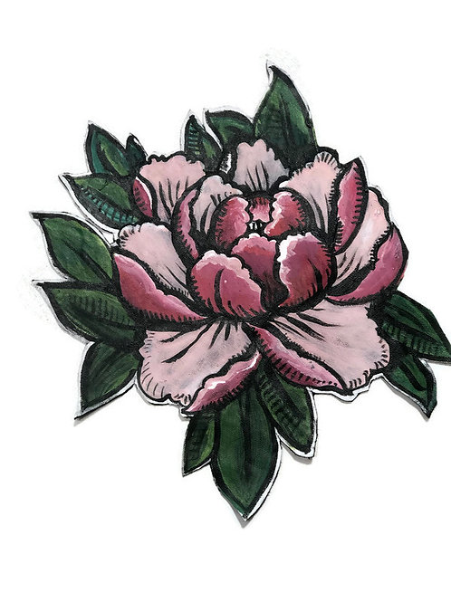 Pink Peony Leather Patch