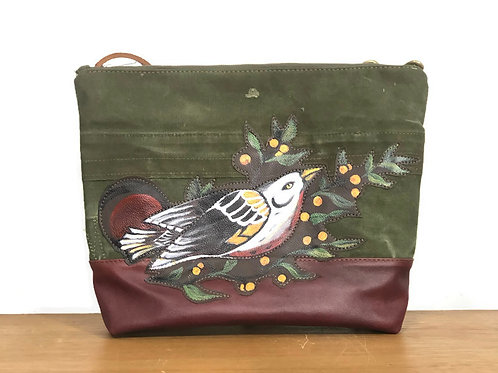 Upcycled Army Duffle Bag with Hand-Painted Leather Bird Patch