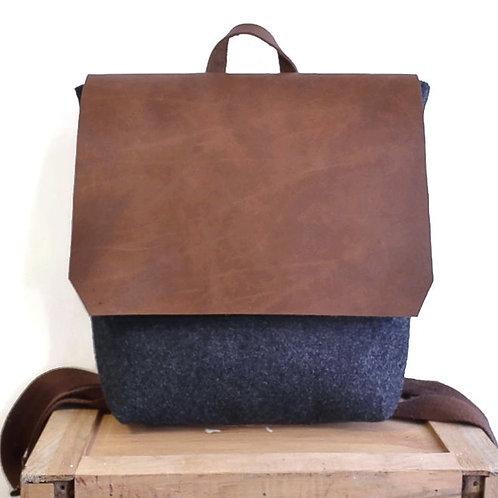 Grey Felt & Brown Leather Backpack