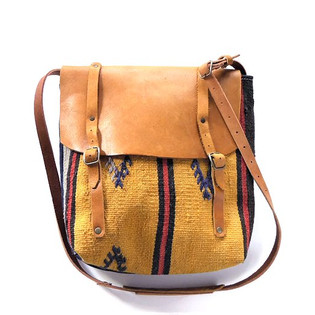 Gold Yellow Vintage Rug and Upcycled Leather Bag.jpg