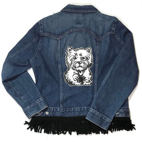 Hand Painted Westie Dog Denim Jacket with Black Fringe