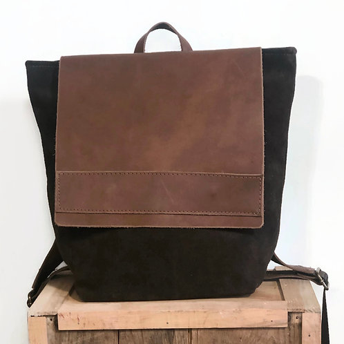 Handmade Upcycled Brown Suede and Leather Backpack Purse