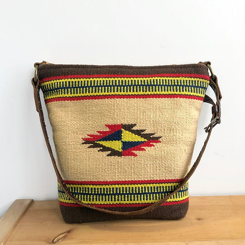 Upcycled Vintage Chimayo Textile and Brown Leather Shoulder Bag