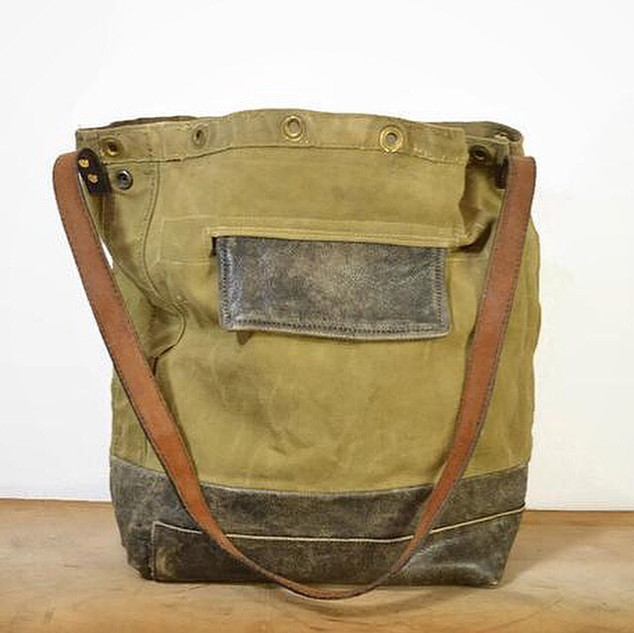 Army Canvas and Distressed Leather Bucket Tote