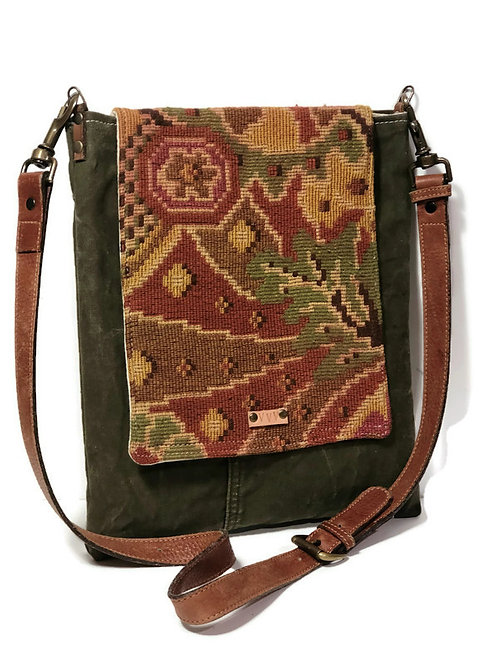 Army Canvas and Vintage Tapestry Shoulder Bag with Brown Leather