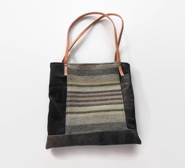 Vintage Striped Blanket and Leather Purs