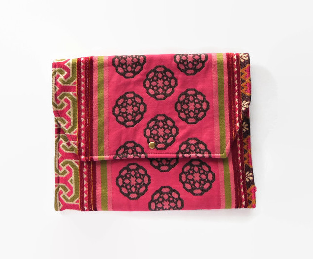 Pink Textile Clutch Bag / Laptop Sleeve.jpg