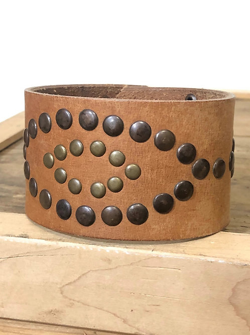 Wide Studded Brown Leather Upcycled Cuff Bracelet