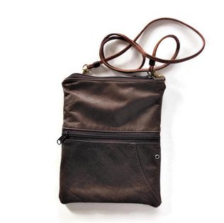 Upcycled Small Cross Body Purse made of a Vintage Brown Leather Jac.jpg
