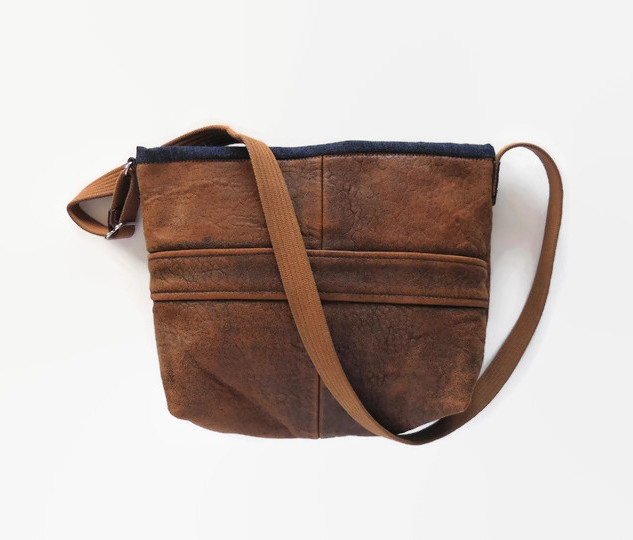 Upcycled Brown Leather Jacket Purse.jpg