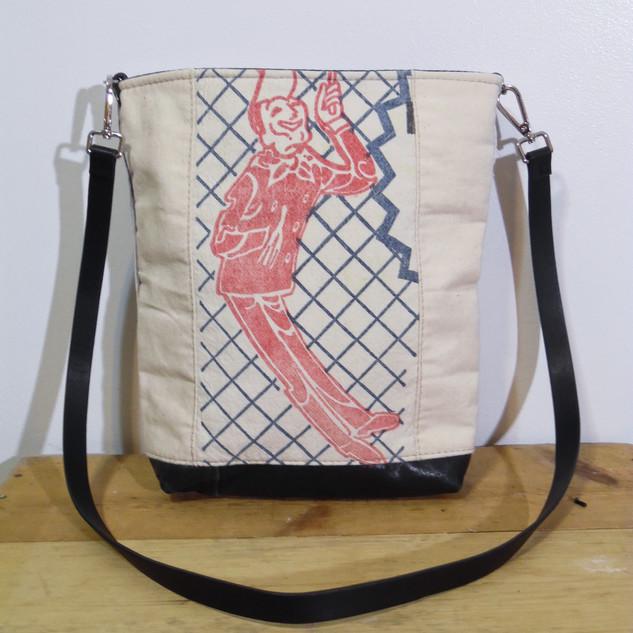 Vintage Feedsack and Canvas Bucket Bag