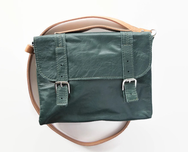 Upcycled Green Leather Itty Bitty Book Bag.jpg