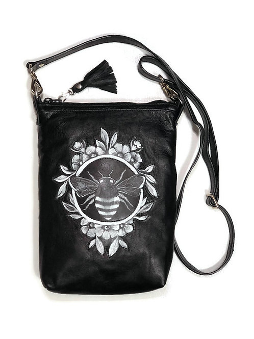 Upcycled Black Leather Small Crossbody Bag with a Hand Painted Bee Patch on the