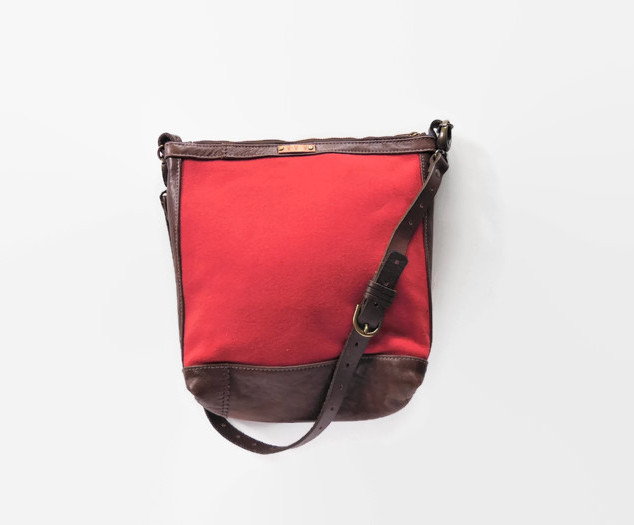 Salmon Wool and Brown Leather Purse.jpg
