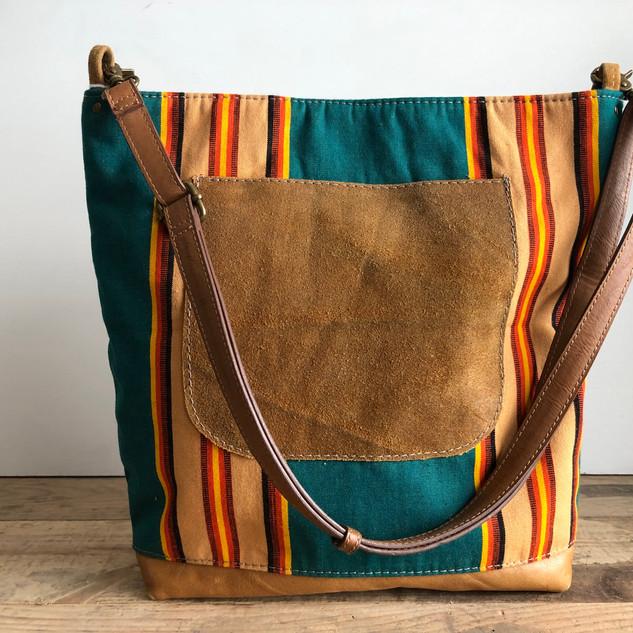 Vintage Striped Awning Fabric Shoulder Bag