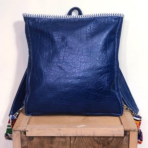 Handmade Royal Blue Leather Backpack / Purse Everyday Bag
