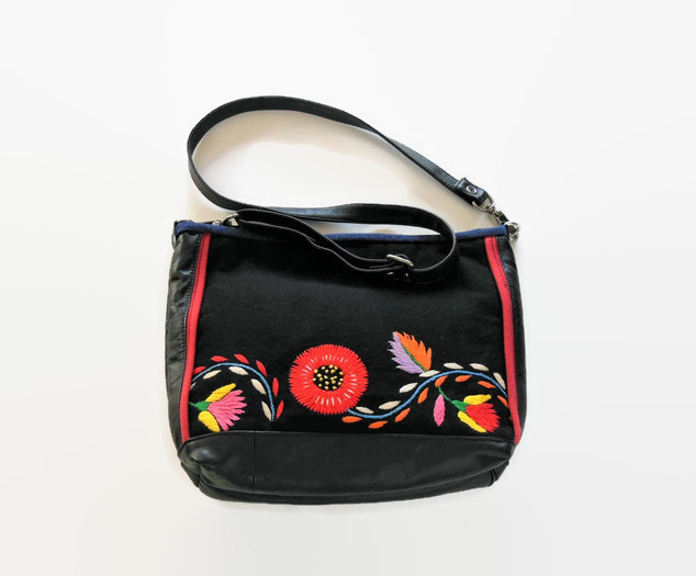 Embroidered Black Wool and Leather Shoul