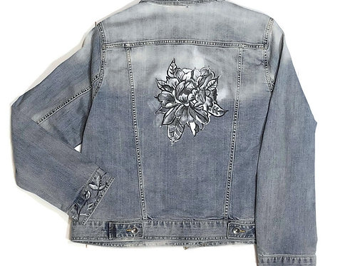 Hand Painted Denim Jacket with Black and White Flower