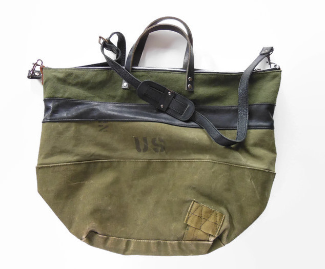 Upcycled Army Canvas and Black Leather Large Zip Top Bag.jpg