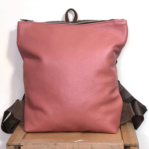 Handmade Dusty Pink Leather Backpack / Purse Everyday Bag