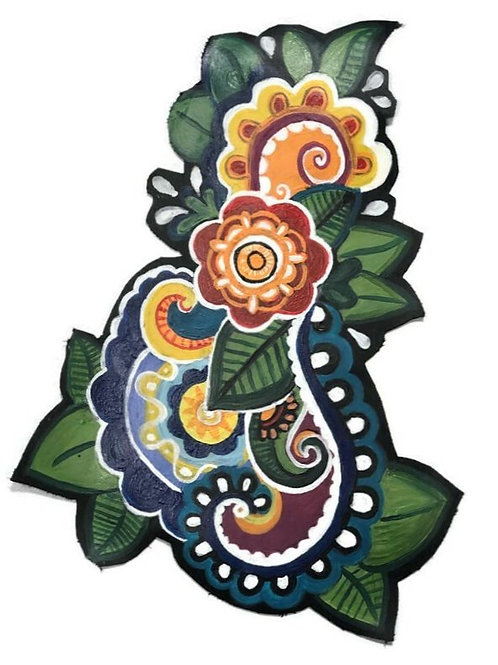 Hand Painted Flower and Paisley Patch