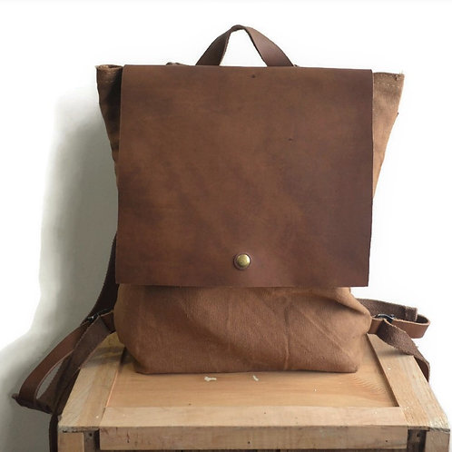 Brown Canvas and Leather Backpack Purse