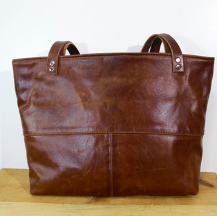 Upcycled Brown Leather Tote