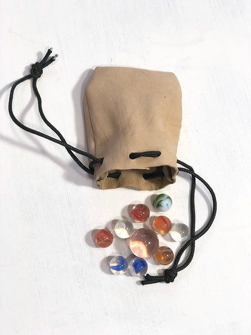 Handmade Dearskin Leather Drawstring Pouch of Vintage Marbles