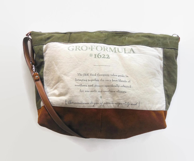 Vintage Army Canvas and Grass Seed Bag.j