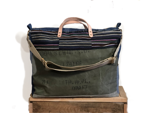 Extra-Large Upcycled Canvas Weekend Bag / Carry On